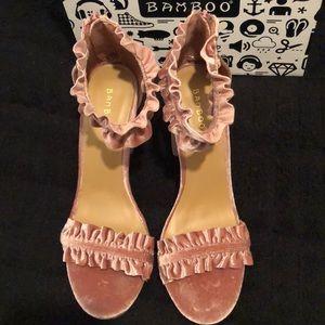 BAMBOO Shoes - Pink Velvet Rampage Heeled Sandals - NIB